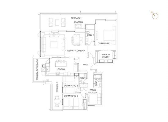 Tipo A1, 3 Dormitorios 188,90 m2
