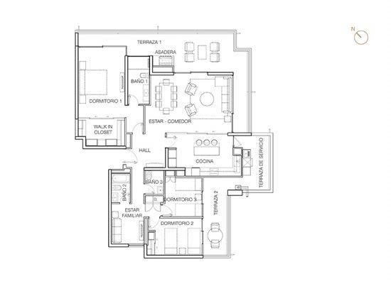 Tipo A2, 3 Dormitorios 187,69 m2
