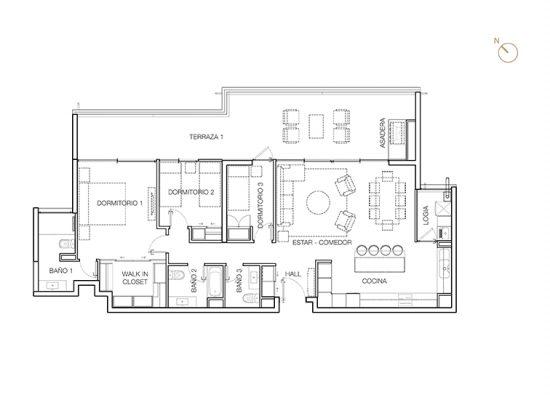 Tipo B2 (inv.), 3 Dormitorios 146,04 m2
