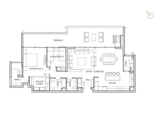 Tipo C1 (inv), 2 Dormitorios 146,04 m2