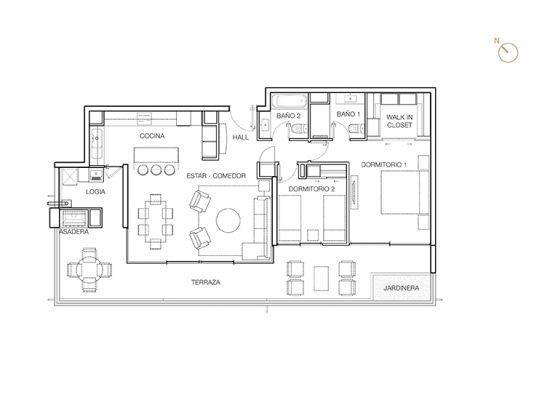 Tipo C2, 2 Dormitorios 131,80 m2