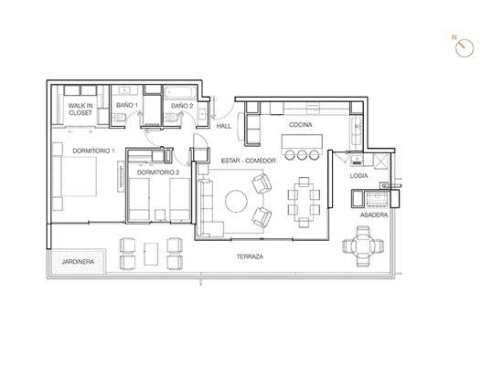 Tipo C2 (inv), 2 Dormitorios 131,80 m2