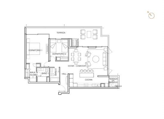 Tipo C3, 2 Dormitorios 118,50 m2