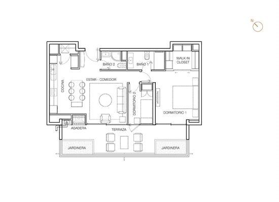 Tipo C4, 2 Dormitorios 96,39 m2