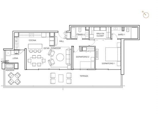 Tipo C5, 2 Dormitorios 124,41 m2