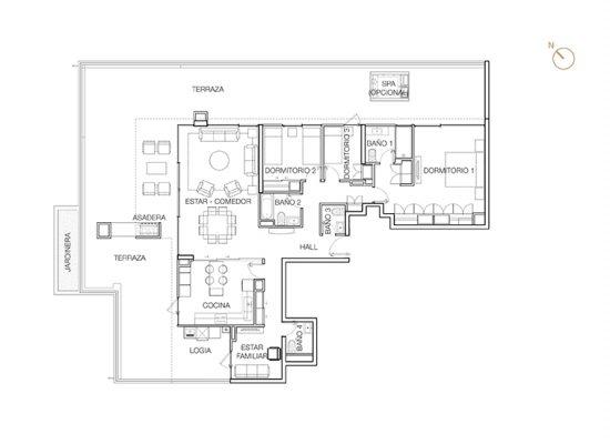 Tipo P1 (Op.1), 3 Dormitorios 261,61 m2