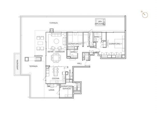 Tipo P1 (Op.5), 3 Dormitorios 261,61 m2