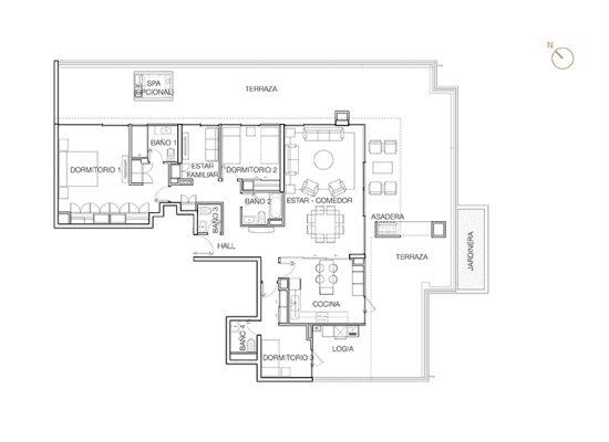 Tipo P2 (Op.2), 3 Dormitorios 269,77 m2