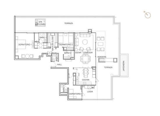 Tipo P2 (Op.4), 3 Dormitorios 269,77 m2