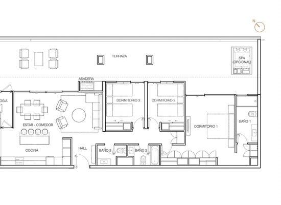 Tipo P3, 3 Dormitorios 188,70 m2