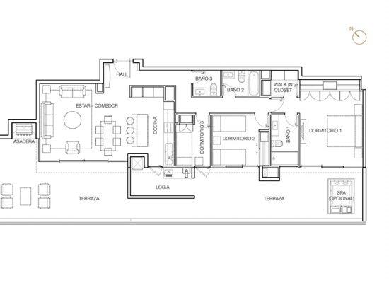Tipo P4, 3 Dormitorios 180,55 m2