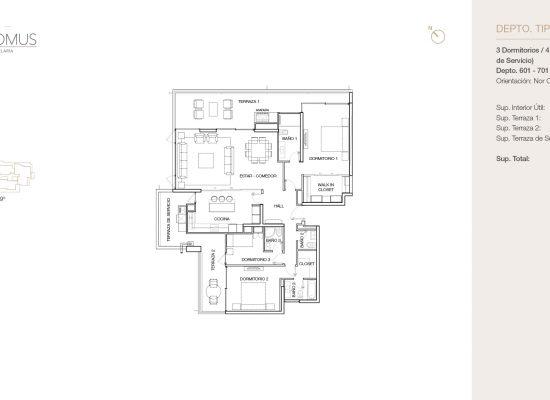 Tipo B1, 3 Dormitorios 188,90 m2