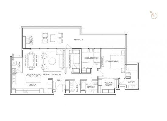 Tipo B2, 3 Dormitorios 147,08 m2