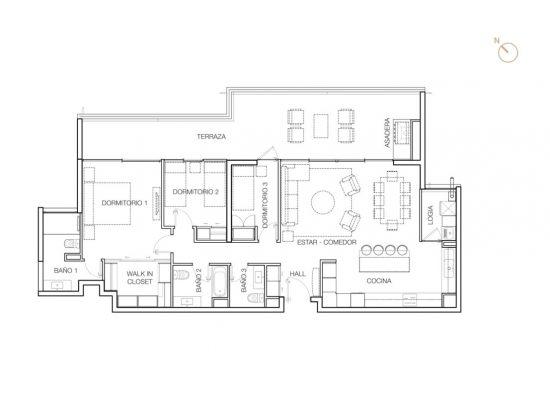 Tipo B2 (inv.), 3 Dormitorios 145,8 m2