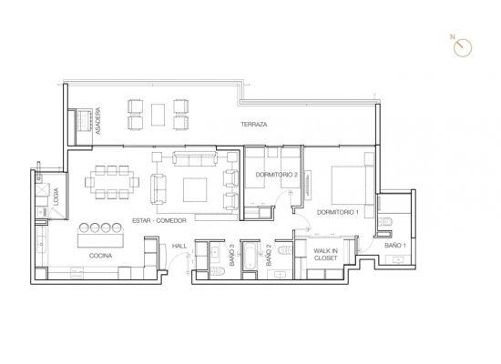 Tipo C1, 2 Dormitorios 147,08 m2