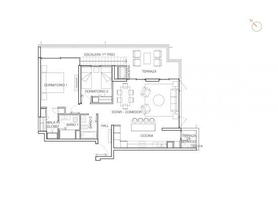 Tipo C3 (escalera), 2 Dormitorios 139,95 m2