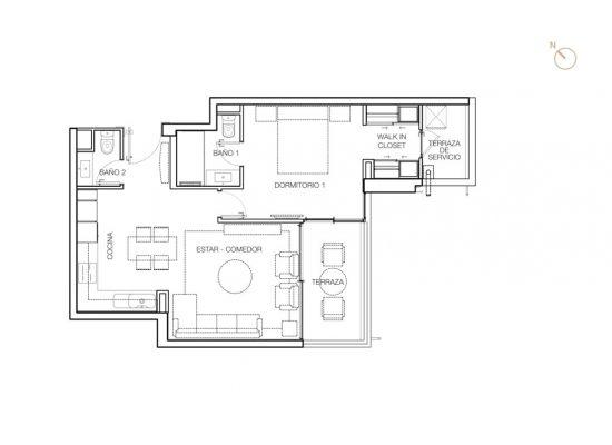 Tipo D1, 1 Dormitorios 66,99 m2