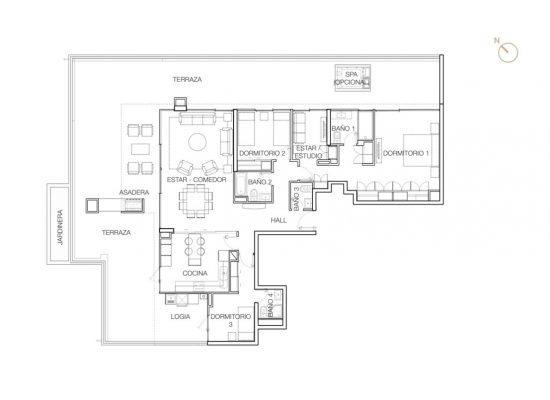 Tipo P1 (Op.3), 3 Dormitorios 269,61 m2
