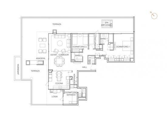 Tipo P1 (Op.5), 3 Dormitorios 269,61 m2