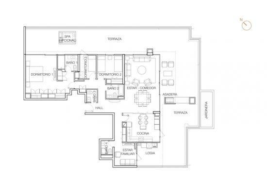 Tipo P2 (Op.1), 3 Dormitorios 269,77 m2