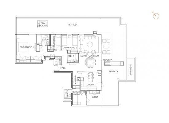 Tipo P2 (Op.5), 3 Dormitorios 269,77 m2